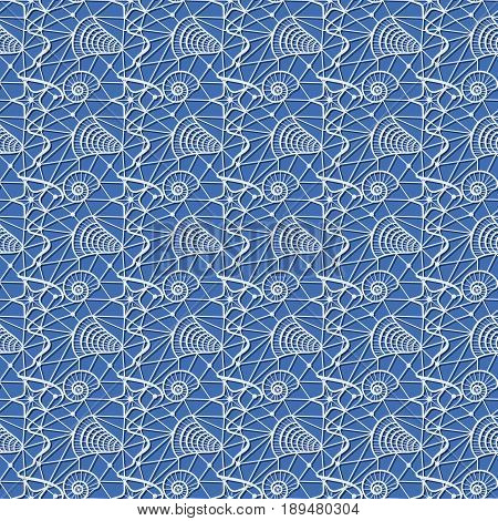 seamless pattern with sea shells on a blue background