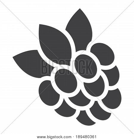Raspberry solid icon, fruit and diet, vector graphics, a glyph pattern on a white background, eps 10.