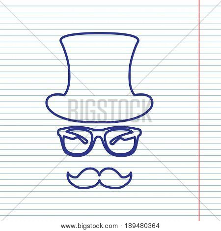 Hipster accessories design. Vector. Navy line icon on notebook paper as background with red line for field.
