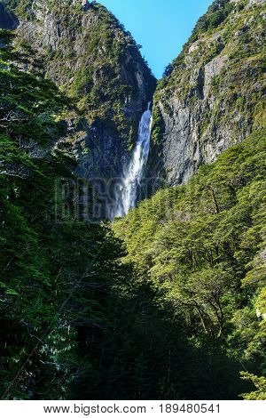 Devils Punchbowl Waterfall can be seen from the main road Arthur's Pass short walking tracks Arthur's Pass National Park South Island of New Zealand