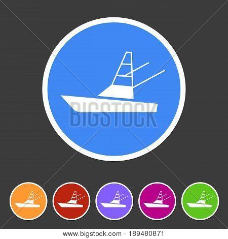 Sport fish boat yacht icon flat web sign symbol logo label set