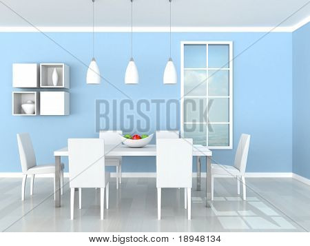 blue modern dining room