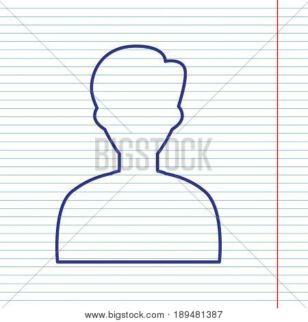 User avatar illustration. Anonymous sign. Vector. Navy line icon on notebook paper as background with red line for field.
