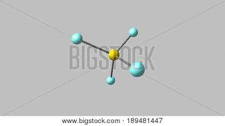 Sulfur tetrafluoride is the chemical compound with the formula SF4. It exists as a gas at standard conditions. It is a corrosive species that releases dangerous HF. 3d illustration