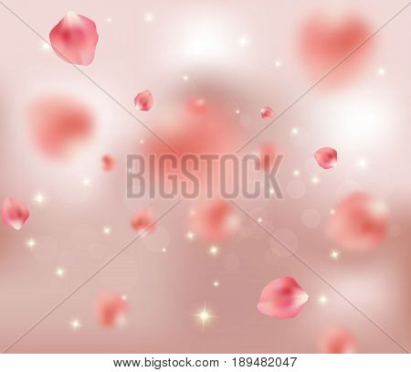 Beautiful pink rose petals flying in the air, vector illustration. Tender romantic background, spring concept. Petals falling, sparkles, bokeh.