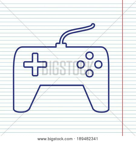 Joystick simple sign. Vector. Navy line icon on notebook paper as background with red line for field.