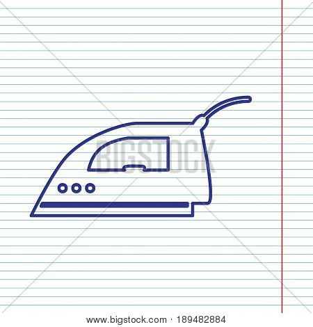 Smoothing Iron sign. Vector. Navy line icon on notebook paper as background with red line for field.
