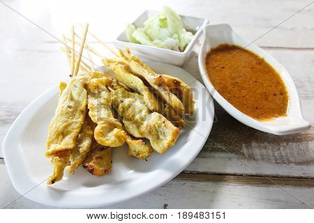 Grilled pork satay with peanut sauce Thai food