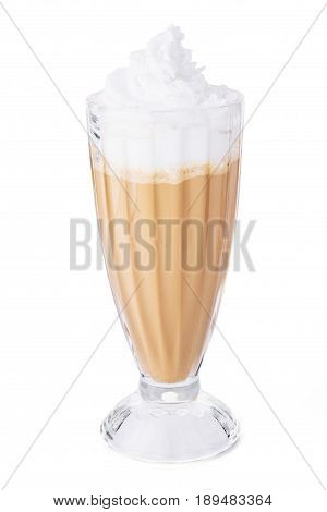 Hot Cappuccino Or Coffee In Glass Isolated