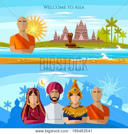 Asia banner. Religion and people of Asia. Hindu buddhist monk woman in sari asian girl in national suit Religions and traditions of Asia and world