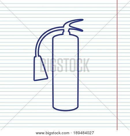 Fire extinguisher sign. Vector. Navy line icon on notebook paper as background with red line for field.