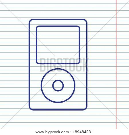 Portable music device. Vector. Navy line icon on notebook paper as background with red line for field.
