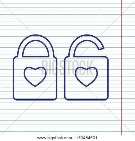 lock sign with heart shape. A simple silhouette of the lock. Shape of a heart. Vector. Navy line icon on notebook paper as background with red line for field.
