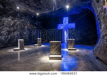 Cross and Thombstone in Zipaquira Salt Cathedral Colombia