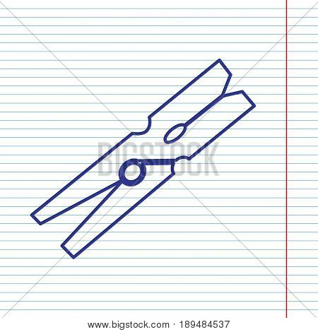 Clothes peg sign. Vector. Navy line icon on notebook paper as background with red line for field.