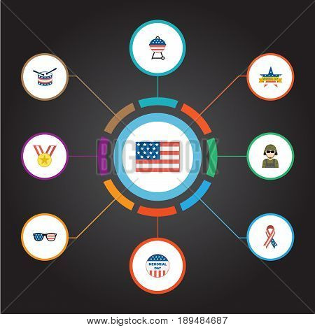 Flat Usa Badge, Musical Instrument, Medallion And Other Vector Elements. Set Of History Flat Symbols Also Includes Medallion, Instrument, Brazier Objects.