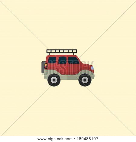 Flat Adventure Car Element. Vector Illustration Of Flat Suv Isolated On Clean Background. Can Be Used As Van, Suv And Car Symbols.