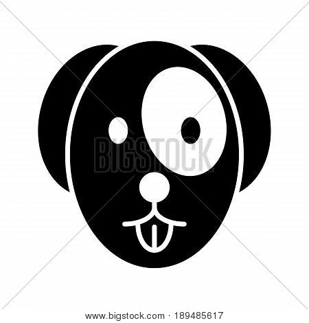 The dog shows the tongue simple vector icon. Black and white illustration of dog face. Solid linear pet icon. eps 10