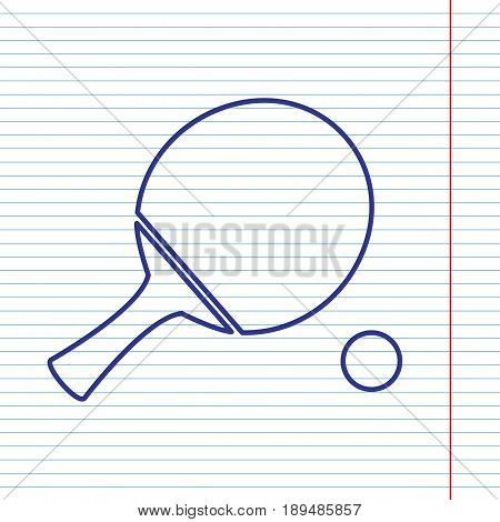 Ping pong paddle with ball. Vector. Navy line icon on notebook paper as background with red line for field.