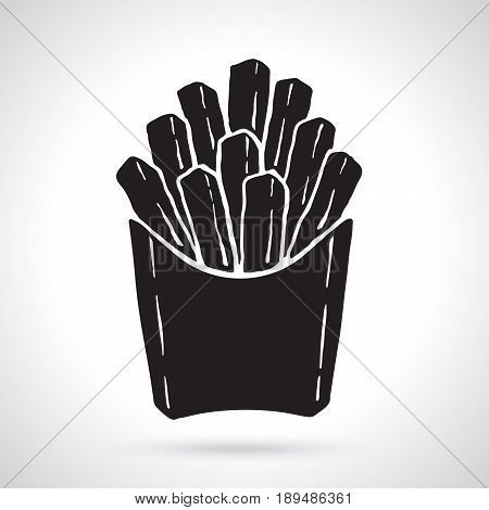 Vector illustration. Silhouette of french fries in a paper pack. Unhealthy food. Patterns elements for menus, signboards, showcases, wallpapers
