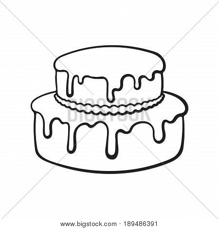 Vector illustration. Hand drawn doodle of double-tiered cream cake with glaze. Cartoon sketch.  Decoration for menus, signboards, showcases, greeting cards, wallpapers