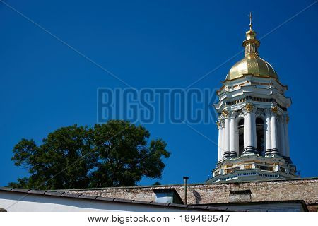 Early morning. The Great Bell Tower of Lavra in the Kiev Pechersk Lavra of the Orthodox Church