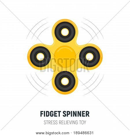 Hand spinner. Fidget spinner in trendy flat style. Stress relieving spinner toy.
