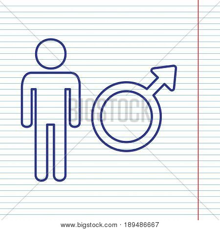 Male sign illustration. Vector. Navy line icon on notebook paper as background with red line for field.