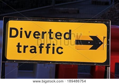 Road diversion sign at a roadworks closure