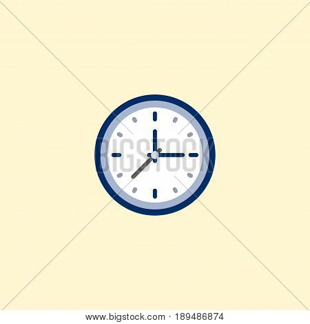 Flat Time Element. Vector Illustration Of Flat Clock Isolated On Clean Background. Can Be Used As Time, Clock And Watch Symbols.