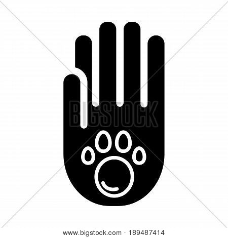 Human hand and paw inside simple vector icon. Black and white illustration of adopt pet. Solid linear icon. eps 10