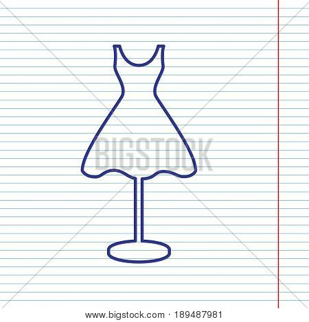 Mannequin with dress sign. Vector. Navy line icon on notebook paper as background with red line for field.