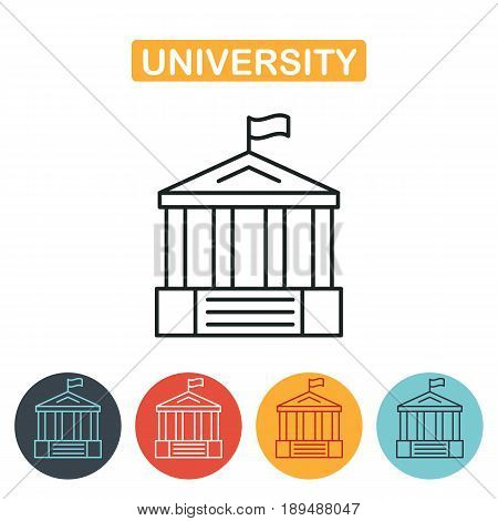 University icon. Vector, solid illustration, pictogram isolated on white. Education icon for web and graphic design. Line style logo. Vector illustration.