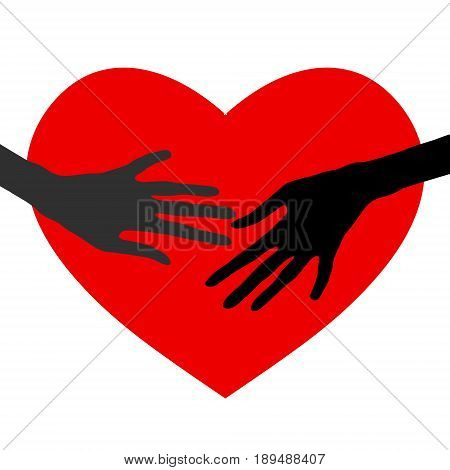 Concept of love. Vector illustration of icon template for Valentine's day. Hands touch the heart