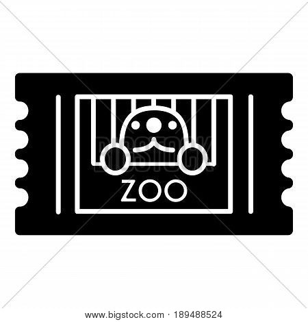 Zoo ticket simple vector icon. Black and white illustration of ticket. Solid linear animal icon. eps 10