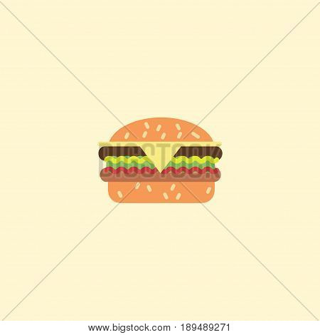 Flat Burger Element. Vector Illustration Of Flat Fast Food Isolated On Clean Background. Can Be Used As Fast, Food And Burger Symbols.