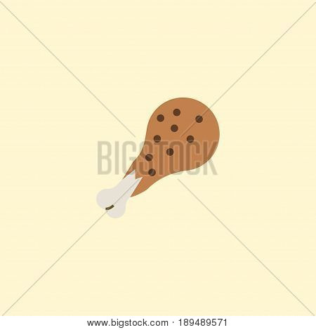 Flat Chicken Leg Element. Vector Illustration Of Flat Fried Poultry Isolated On Clean Background. Can Be Used As Chicken, Leg And Fried Symbols.