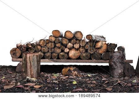 Natural wooden logs stacked. pile of wood logs o