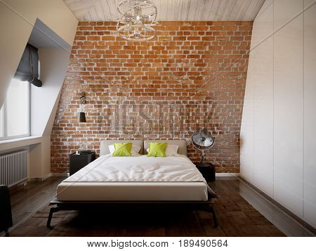 Urban Contemporary Modern Scandinavian Loft Bedroom Interior Design With Red Brick Wall. 3d rendering