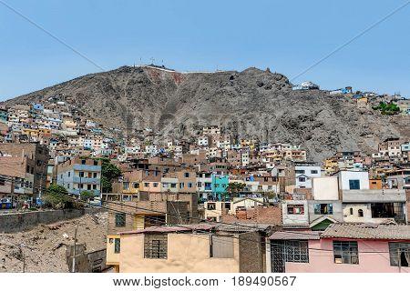 Cerro San Cristobal slum in Lima Peru
