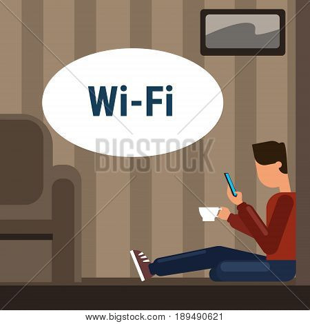 Man Sitting On Floor At Home Use Cell Smart Phone Internet Through Wifi Wireless Online Connection Vector Illustration