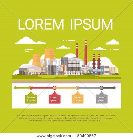 Nature Pollution Plant Pipe Dirty Waste Air And Water Polluted Environment Infographic Banner Flat Vector Illustration