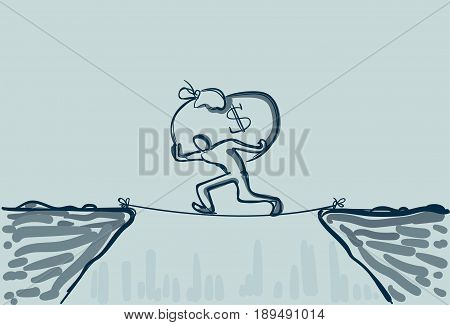 Business Man Walk Over Cliff Gap Mountain Carry Big Money Bag Risking Dangerous Vector Illustration