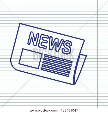 Newspaper sign. Vector. Navy line icon on notebook paper as background with red line for field.