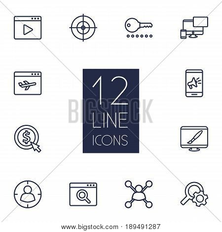 Set Of 12 Optimization Outline Icons Set.Collection Of Stock Exchange, Cost Per, Scan And Other Elements.