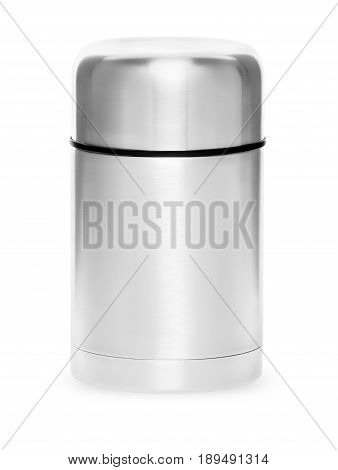 Metal thermos for active life, isolated on white background