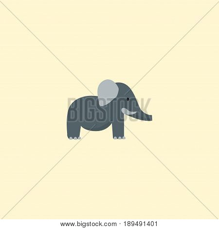 Flat Elephant Element. Vector Illustration Of Flat Trunked Animal Isolated On Clean Background. Can Be Used As Bishop, Elephant And Trunk Symbols.
