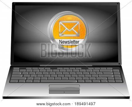 Laptop Computer with orange Newsletter Button - 3D illustration
