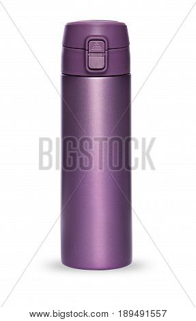 Purple thermos bottle with plastic lid and convenient spout for an active life, isolated on white background