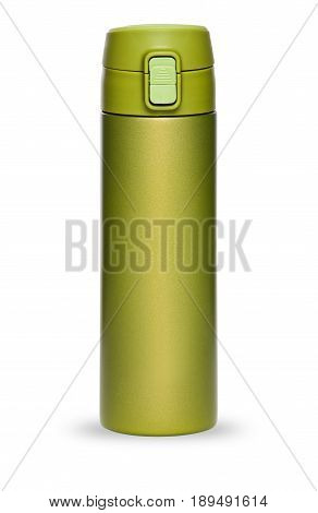 Green thermos with plastic lid and convenient spout for an active life, isolated on white background